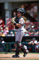 Altoona Curve catcher Reese McGuire (7) during a game against the Erie SeaWolves on July 10, 2016 at Jerry Uht Park in Erie, Pennsylvania.  Altoona defeated Erie 7-3.  (Mike Janes/Four Seam Images)