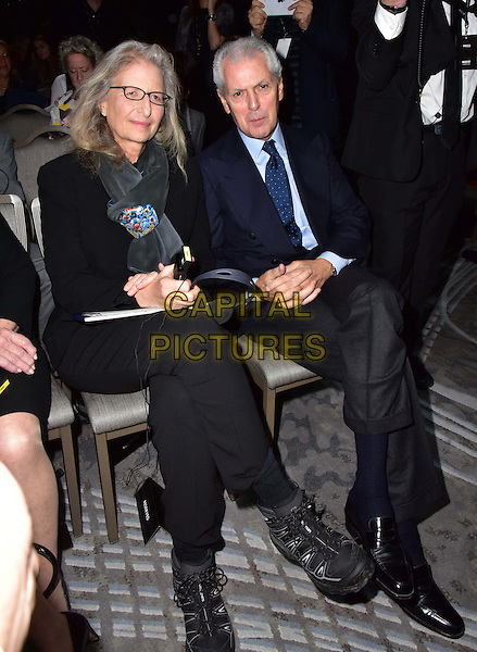 LONDON, ENGLAND - NOVEMBER 30: Annie Leibovitz, Marco Tronchetti at a photocall for the launch of the 2016 Pirelli calendar in London on November 30, 2015<br /> CAP/JOR<br /> &copy;JOR/Capital Pictures