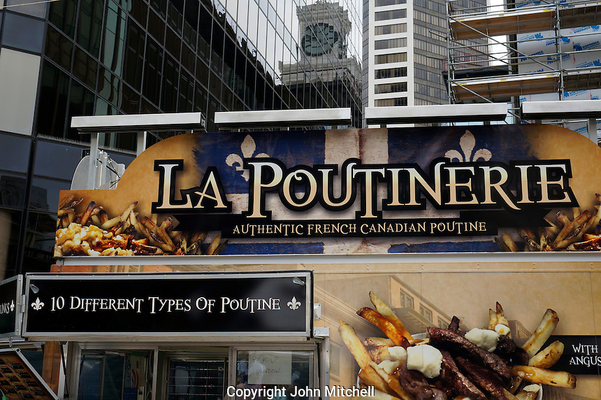 Quebec poutine food truck in downtown Vancouver, BC, Canada
