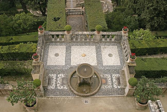 Overlooking balcony of Villa d'Este, Tivoli Gardens, Italy