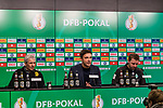 05.02.2019, Signal Iduna Park, Dortmund, GER, DFB-Pokal, Achtelfinale, Borussia Dortmund vs Werder Bremen<br /> <br /> DFB REGULATIONS PROHIBIT ANY USE OF PHOTOGRAPHS AS IMAGE SEQUENCES AND/OR QUASI-VIDEO.<br /> <br /> im Bild / picture shows<br /> Lucien Favre (Trainer / Head Coach Borussia Dortmund) (li) und Florian Kohfeldt (Trainer SV Werder Bremen) (re) bei Pressekonferenz nach dem Spiel, <br /> <br /> Foto &copy; nordphoto / Ewert