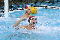5 December 2004: Tony Azevedo celebrates after tying the score in the final seconds during  the UCLA Bruins' 10-9 overtime win over the Stanford Cardinal in the 2004 NCAA men's water polo national championship held at the Avery Aquatic Center in Stanford, CA. A crowd of 3,044 watched the match.<br />