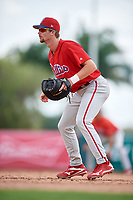 Philadelphia Phillies Madison Stokes (15) during a Florida Instructional League game against the Baltimore Orioles on October 4, 2018 at Ed Smith Stadium in Sarasota, Florida.  (Mike Janes/Four Seam Images)