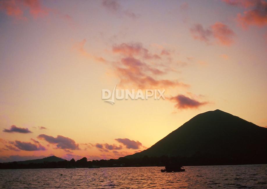 Sunset over Gunung Api, Banda, Maluku, Indonesia