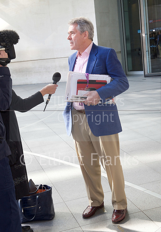Andrew Marr Show <br /> departures <br /> BBC, Broadcasting House, London, Great Britain <br /> 9th April 2017 <br /> <br /> <br /> <br /> <br /> <br /> Sir Peter Westmacott senior diplomat, who was British Ambassador to the United States of America. <br /> <br /> <br /> Photograph by Elliott Franks <br /> Image licensed to Elliott Franks Photography Services