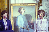 First lady Rosalynn Carter, left, and former first lady Betty Ford pose next to the portrait of Mrs. Ford that was unveiled during a ceremony in the East Room of the White House in Washington, DC on August 4, 1980. The painting will be on permanent display at the White House along with those of other US Presidents and first ladys.  <br /> Credit: Benjamin E. &quot;Gene&quot; Forte / CNP