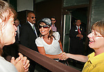 Former Governor of Alaska Sarah Palin greets fans at Belmont Park in Elmont, New York.  Palin and husband Todd were visiting the Belmont to see First Dude run in the 142nd  Belmont Stakes Day  at Belmont Park Racetrack, Elmont, New York.