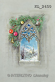 Interlitho, CHRISTMAS SANTA, SNOWMAN, nostalgic, paintings, window, branch, church(KL2450,#X#) Weihnachten, nostalgisch, Navidad, nostálgico, illustrations, pinturas