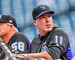 29 July 2017: Colorado Rockies bench coach Mike Redmond watches batting practice prior to a game against the Washington Nationals at Nationals Park in Washington, DC. The Rockies defeated the Nationals 4-2 in the first game of their 3-game weekend series. Mandatory Credit: Ed Wolfstein Photo *** RAW (NEF) Image File Available ***