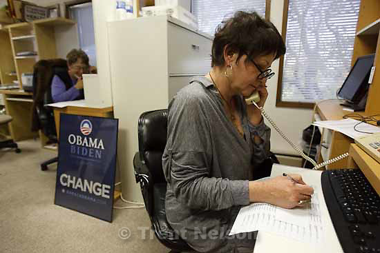 "Barbara Billingham (right) and June Taylor making phone calls during Utah Organizing for America's ""Time to Deliver"" event, in which seniors call friends and neighbors to rally support for health care reform. Tuesday, October 20 2009 in Salt Lake City."