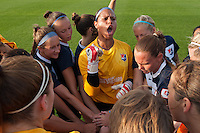 Sky Blue FC goalkeeper Brittany Cameron (1) leads the team in the huddle. Sky Blue FC and the Portland Thorns played to a 0-0 tie during a National Women's Soccer League (NWSL) match at Yurcak Field in Piscataway, NJ, on June 22, 2013.