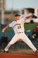 April 26 2009: Chris Hicks of the Lancaster JetHawks pitches against the San Jose Giants at Clear Channel Stadium in Lancaster,CA.  Photo by Larry Goren/Four Seam Images