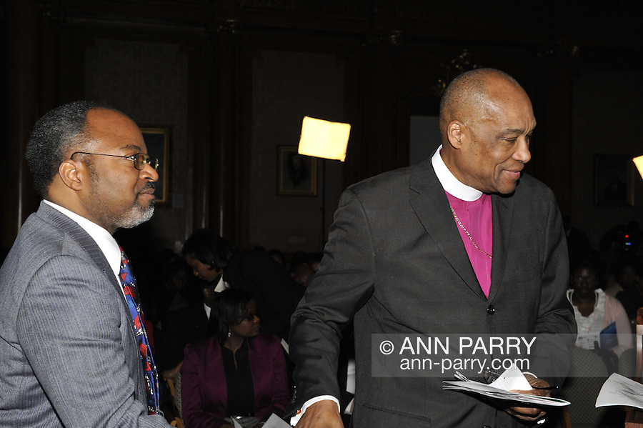 Henri J. Desrosiers NP, and clergyman at 2nd Annual Interfaith Memorial Service for Haiti, at Brooklyn Borough Hall, Brooklyn, New York, USA, on January 11 2012, two years after the Mw 7.0 earthquake in Haiti.