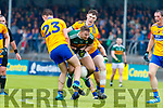 James O'Donoghue Kerry in action against Conall O hAinifein  and Sean O'Donoghue Clare during the Munster Senior Football Semi Final between Kerry and Clare at Ennis on Saturday night.