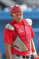 Lowell Spinners Catcher Chia-Chu Chen during a game vs. the Batavia Muckdogs at Dwyer Stadium in Batavia, New York July 14, 2010.   Batavia defeated Lowell 12-2.  Photo By Mike Janes/Four Seam Images