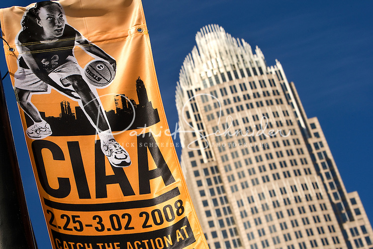 A banner featuring the CIAA tournament is displayed with the Bank of America tower in the background during the CIAA Tournament  in Charlotte, NC.