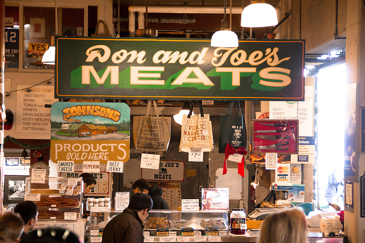 Seattle, Pike Place Farmer's Market, Don and Joe's Meats, Historical District, Central Arcade, Washington State, Pacific Northwest, United States,