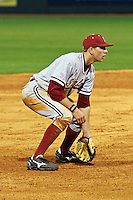 HOUSTON, TEXAS - Feb. 18, 2011: Stephen Piscotty of Stanford in the ready position at third base during the game against Rice.  Stanford defeated Rice University 5-3.