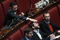 Riccardo Fraccaro scherza con Marco Baldassarre<br /> Roma 23-04-2014 Camera. Voto di fiducia sul Decreto DL Lavoro.<br /> Trust vote on job laws<br /> Photo Samantha Zucchi Insidefoto