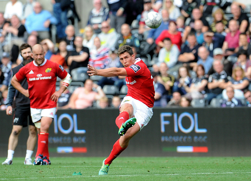Munster's Ian Keatley converts his sides second try<br /> <br /> Photographer Ian Cook/CameraSport<br /> <br /> Rugby Union - Guinness PRO12 - Ospreys v Munster - Sunday 13th September 2015 - Liberty Stadium - Swansea<br /> <br /> &copy; CameraSport - 43 Linden Ave. Countesthorpe. Leicester. England. LE8 5PG - Tel: +44 (0) 116 277 4147 - admin@camerasport.com - www.camerasport.com
