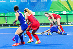 Michelle Vittese #9 of United States passes to Katie Bam #16 of United States during USA vs Japan in a Pool B game at the Rio 2016 Olympics at the Olympic Hockey Centre in Rio de Janeiro, Brazil.