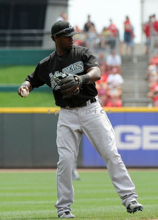 HANLEY RAMIREZ, of  the Florida Marlins, in action during the Marlins game against the Cincinnati Reds at Great American Ball Park in Cincinnati, Ohio  on August 15, 2010.   Reds won the game 2-0...
