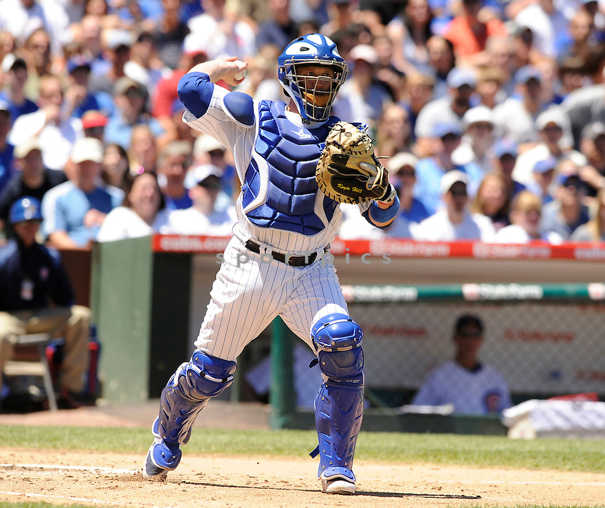 KOYIE HILL, of the Chicago Cubs, in action during the Cubs game against the Los Angeles Angels at Wrigley Field in Chicago, IL on June 19, 2010.  ..The Angels won the game 12-0...