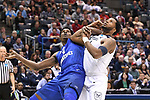MILWAUKEE, WI - MARCH 18: Middle Tennessee Blue Raiders forward Brandon Walters (1) and Butler Bulldogs forward Tyler Wideman (4) tussle for a rebound during the first half of the 2017 NCAA Men's Basketball Tournament held at BMO Harris Bradley Center on March 18, 2017 in Milwaukee, Wisconsin. (Photo by Jamie Schwaberow/NCAA Photos via Getty Images)
