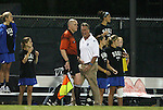 24 September 2009: Duke head coach Robbie Church earned a yellow card for yelling at assistant referee Kevin Bowers after one of eight offsides calls against the Blue Devils. The University of North Carolina Tar Heels defeated the Duke University Blue Devils 2-1 in sudden victory overtime at Fetzer Field in Chapel Hill, North Carolina in an NCAA Division I Women's college soccer game.