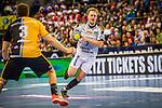 Lucas Witzke (SC DHfK Leipzig #7) ; Max Haefner (TVB Stuttgart #3)  beim Spiel in der Handball Bundesliga, TVB 1898 Stuttgart - SC DHfK Leipzig.<br /> <br /> Foto © PIX-Sportfotos *** Foto ist honorarpflichtig! *** Auf Anfrage in hoeherer Qualitaet/Aufloesung. Belegexemplar erbeten. Veroeffentlichung ausschliesslich fuer journalistisch-publizistische Zwecke. For editorial use only.