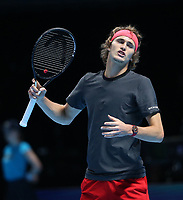 Alexander Zverev in action against Novak Djokovic in their singles Final match today<br /> <br /> Photographer Rob Newell/CameraSport<br /> <br /> International Tennis - Nitto ATP World Tour Finals Day 8 - O2 Arena - London - Sunday 18th November 2018<br /> <br /> World Copyright &copy; 2018 CameraSport. All rights reserved. 43 Linden Ave. Countesthorpe. Leicester. England. LE8 5PG - Tel: +44 (0) 116 277 4147 - admin@camerasport.com - www.camerasport.com