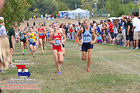 Jill Whitman and Maddy Brown lead three minutes into Varsity Girls 5k, 2013 Parkway West Cross Country Invitational.