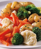 Medley of brocoli, cauliflower, carrots and potoes, vegetable food photos