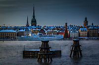 Stockholm Sweden, seascapes in winter. Kall vinter vid Stockholms ström och Gamla stan i Stockholm