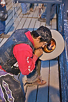 praying bull rider, Jackson Hole Rodeo