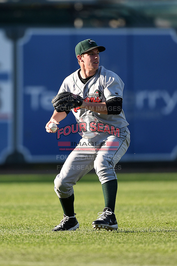 Great Lakes Loons shortstop Dillon Moyer (5) looks to make a throw after catching a pop up during a game against the West Michigan Whitecaps on June 5, 2014 at Fifth Third Ballpark in Comstock Park, Michigan.  West Michigan defeated Great Lakes 6-2.  (Mike Janes/Four Seam Images)