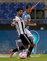 Calcio, Serie A: Lazio vs Udinese. Roma, stadio Olimpico, 13 settembre 2015.<br /> Udinese's Panagiotis Kone, left, and Lazio&rsquo;s Stefan Radu fight for the ball during the Italian Serie A football match between Lazio and Udinese at Rome's Olympic stadium, 13 September 2015.<br /> UPDATE IMAGES PRESS/Isabella Bonotto