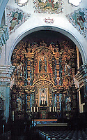 AZ: Tucson--San Xavier Del Bac, Interior. Retablo or Altar Screen. Retalblo: screen for paintings and sculptures. Photo '96.