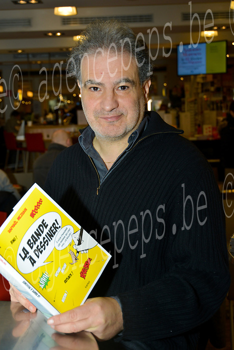 "Raphael Mezrahi during the autograph session at the Bookstore Filigrane Brussels for the release of his new book ""The band draw"". Brussels, 29 January 2016, Belgium"