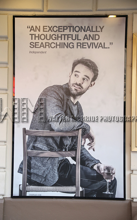 "Theatre Marquee for Harold Pinter's ""Betrayal"" starring Tom Hiddleston, Zawe Ashto and Charlie Cox under the direction of Jamie Lloyd at the Jacobs Theatre on August 22, 2019 in New York City."