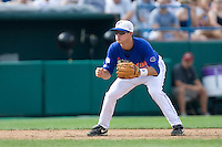 Florida's Cody Dent in Game 5 of the NCAA Division One Men's College World Series on Monday June 21st, 2010 at Johnny Rosenblatt Stadium in Omaha, Nebraska.  (Photo by Andrew Woolley / Four Seam Images)