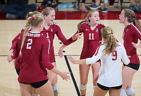 STANFORD, CA - November 3, 2018: Jenna Gray, Kathryn Plummer, Kate Formico, Morgan Hentz, Meghan McClure at Maples Pavilion. No. 1 Stanford Cardinal defeated No. 15 Colorado Buffaloes 3-2.