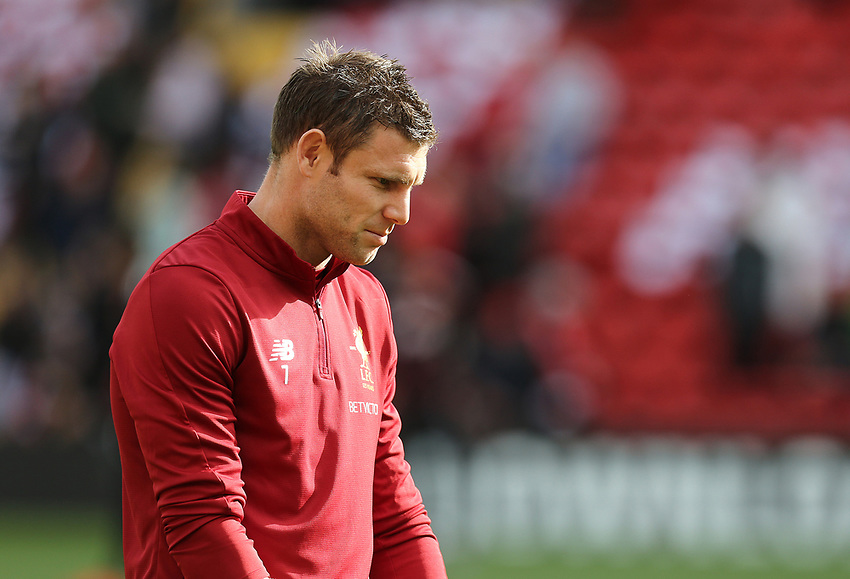 Liverpool's James Milner during the pre-match warm-up <br /> <br /> Photographer Rich Linley/CameraSport<br /> <br /> The Premier League - Liverpool v Manchester United - Saturday 14th October 2017 - Anfield - Liverpool<br /> <br /> World Copyright &copy; 2017 CameraSport. All rights reserved. 43 Linden Ave. Countesthorpe. Leicester. England. LE8 5PG - Tel: +44 (0) 116 277 4147 - admin@camerasport.com - www.camerasport.com