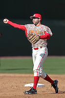 Kyle Convissar #22 of the Maryland Terrapins makes a throw against the UCLA Bruins at Jackie Robinson Stadium on February 19, 2012 in Los Angeles,California. Maryland defeated UCLA 5-1.(Larry Goren/Four Seam Images)