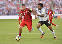 Commerce City, CO - Thursday June 08, 2017: Clint Dempsey and Mekeil Williams during their 2018 FIFA World Cup Qualifying Final Round match versus Trinidad & Tobago at Dick's Sporting Goods Park.