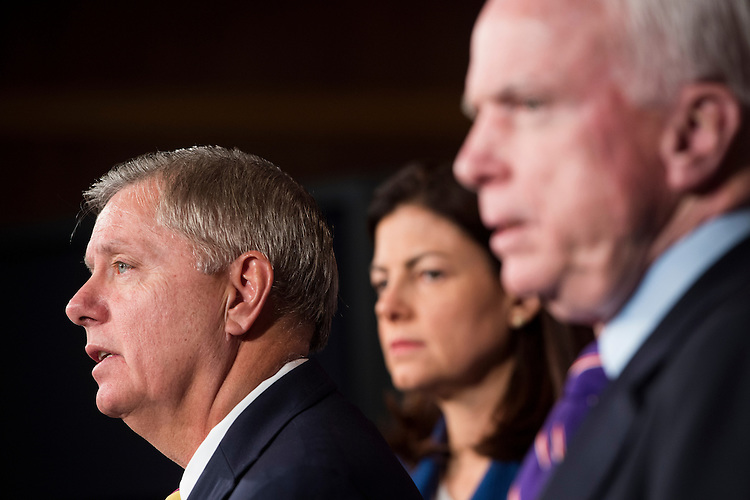 UNITED STATES - DECEMBER 21: From left, Sens. Lindsey Graham, R-S.C., Kelly Ayotte, R-N.H., and John McCain, R-Ariz., hold a news conference on on Benghazi on Friday, Dec. 21, 2012. (Photo By Bill Clark/CQ Roll Call)