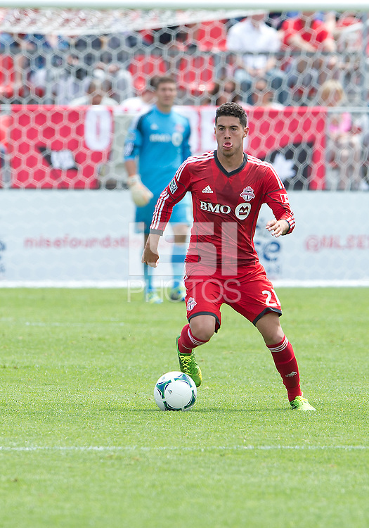 29 June 2013: Toronto FC midfielder Jonathan Osorio #21 in action during an MLS game between Real Salt Lake and Toronto FC at BMO Field in Toronto, Ontario Canada.<br /> Real Salt Lake won 1-0.