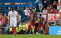 FC Barcelona players clebrating goal of Jordi Alba during the Final of Copa del Rey match between FC Barcelona and SevillaFC at the Vicente Calderon Stadium in Madrid, Sunday, May 22, 2016.