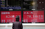 June 4, 2012, Tokyo, Japan - The U.S. dollar is traded in the lower 78-yen mark, right, on the Tokyo foreign exchange market Monday morning, June 4, 2012, while the stocks is traded at 8,266, below its previous 2012 low of 8,378, posted on Jan. 16, as investors unloaded shares amid growing fears of an economic slowdown in the U.S., Europe and China. (Photo by Natsuki Sakai/AFLO) AYF -mis-