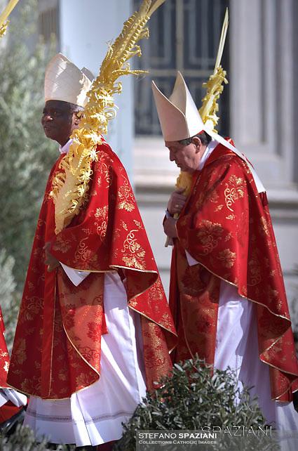 cardinal Peter Kodwo Appiah Turkson.Cardinal Joao Braz de Aviz ,Pope Francis during of the Palm Sunday celebration on St Peter's square at the Vatican.April 24,2018